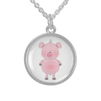 Cheerful Pink Pig Cartoon Sterling Silver Necklace