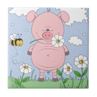 Cheerful Pink Pig Cartoon Tile