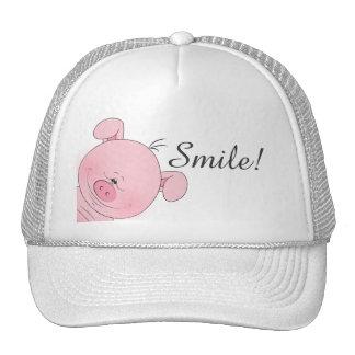 Cheerful Pink Pig Cartoon Trucker Hat