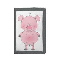 Cheerful Pink Pig Cartoon Wallet