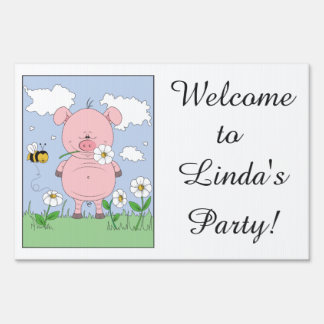 Cheerful Pink Pig Cartoon Yard Sign