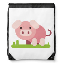 Cheerful Pink Piglet Drawstring Bag