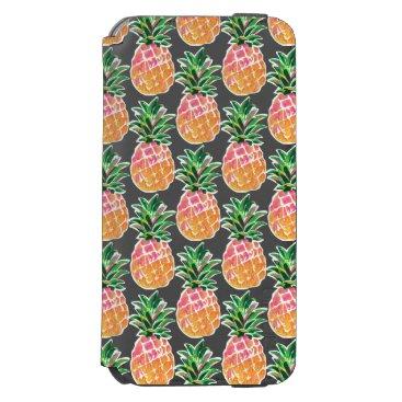 Beach Themed Cheerful Pink & Yellow Hawaiian Pineapple iPhone 6/6s Wallet Case