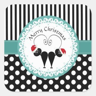 Cheerful polka dots cartoon Santa cats Square Sticker