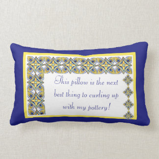Cheerful Pottery Pattern with Text Lumbar Pillow
