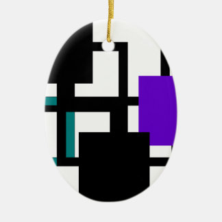 Cheerful Purple Square Colorful Oval Ornament