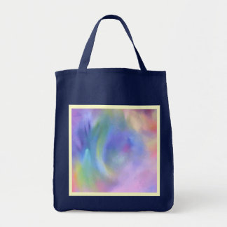 Cheerful Rainbow Blend Abstract Reusable Navy Blue Tote Bag
