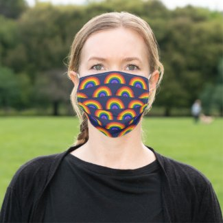 Cheerful Rainbow Pattern on Navy Blue Cloth Face Mask