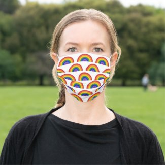 Cheerful Rainbow Pattern on White Cloth Face Mask