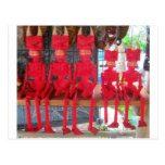 Cheerful Red Little Mexican Devils sitting around Postcard