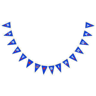 Cheerful Red Smiley Star 6th Birthday Bunting Flags