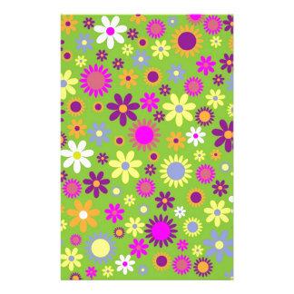 Cheerful Retro Flower Power Floral Designer Stationery Design