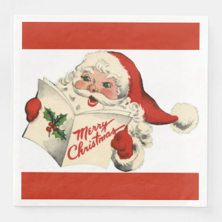 Cheerful Retro Santa Red Dinner Paper Napkins