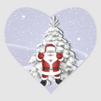 Cheerful Santa and Snowy Christmas Tree Heart Sticker