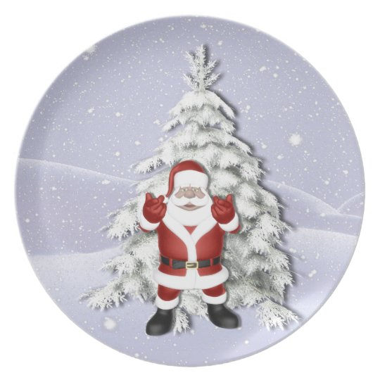 Cheerful Santa and Snowy Christmas Tree Melamine Plate