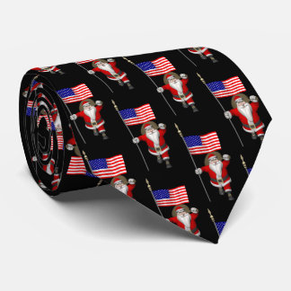 Cheerful Santa Claus With US Flag Tie