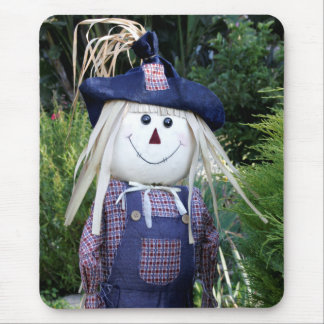 Cheerful Scarecrow in Blue Fall Mouse Pad