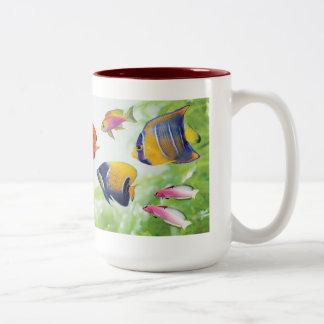 Cheerful seawater fish Two-Tone coffee mug