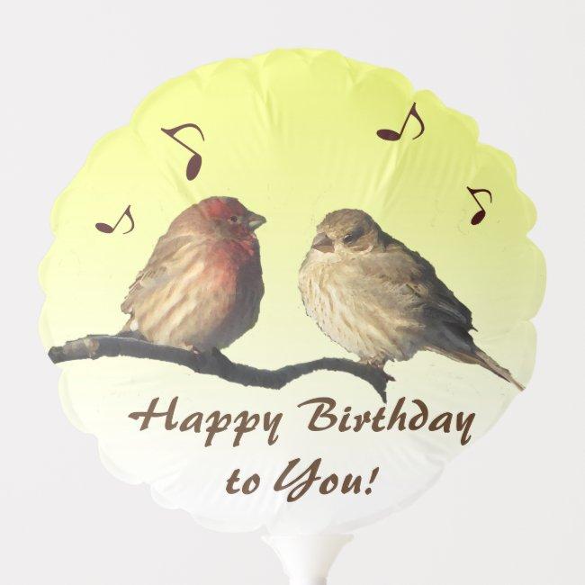 Cheerful Singing Finch Birds Birthday Balloon
