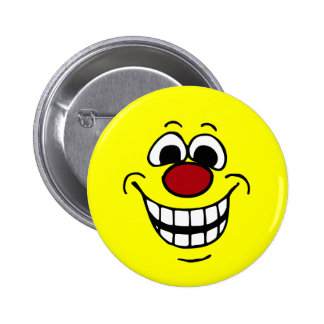 Cheerful Smiley Face Grumpey Pinback Button