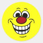 Cheerful Smiley Face Grumpey Round Sticker