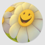 Cheerful Smiling Flowers Classic Round Sticker
