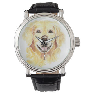 Cheerful Smiling Golden Retriever Dog Pet Animal Wristwatch