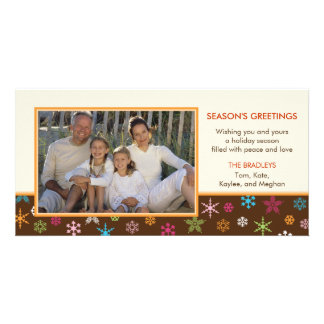 Cheerful Snowflakes Holiday Photo Card Custom Photo Card