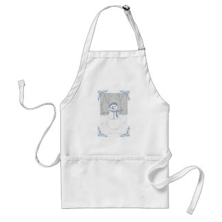 Cheerful Snowman in a Blue Scarf Holiday Apron
