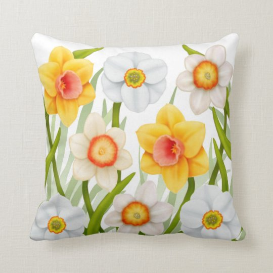 Cheerful Spring Daffodils Pillow