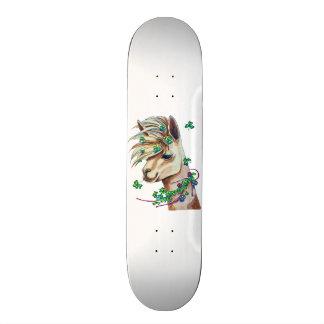 cheerful spring llama skateboard deck