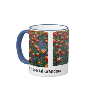 Cheerful Spring Tulips -- Grandma (Customizable) Ringer Coffee Mug