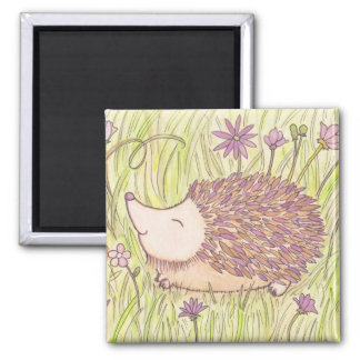 Cheerful Springtime Hedgehog 2 Inch Square Magnet