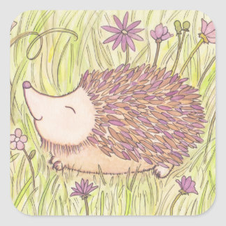 Cheerful Springtime Hedgehog Square Sticker