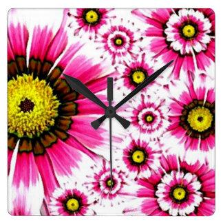 Cheerful Summer Pink Flower Collage Clock