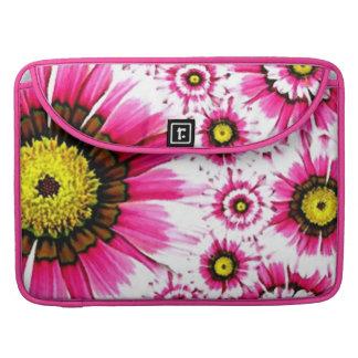 Cheerful Summer Pink Flower Collage MacBook Pro Sleeves