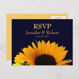 Cheerful Sunflower Navy Blue Wedding RSVP Invitation Postcard