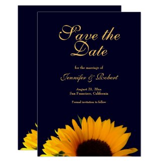 Cheerful Sunflower Save the Date Navy Blue Invitation