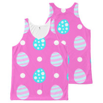 Cheerful sweet pink colorful easter eggs pattern All-Over-Print tank top