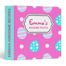 Cheerful sweet pink colorful easter eggs pattern binder