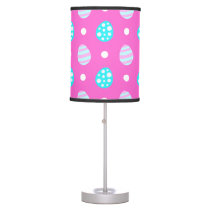 Cheerful sweet pink colorful easter eggs pattern table lamp