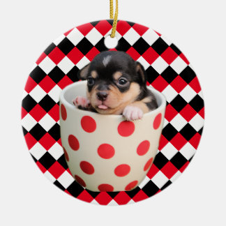 Cheerful Teacup Puppy on Red Black White Squares Ceramic Ornament