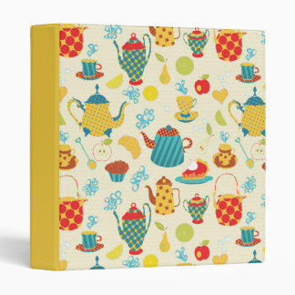 Cheerful Teapot Pattern Recipe Collection 3 Ring Binder