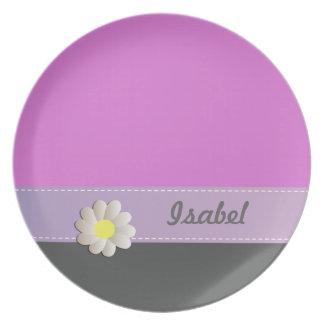Cheerful Trendy cute daisy pink gray monogram Melamine Plate