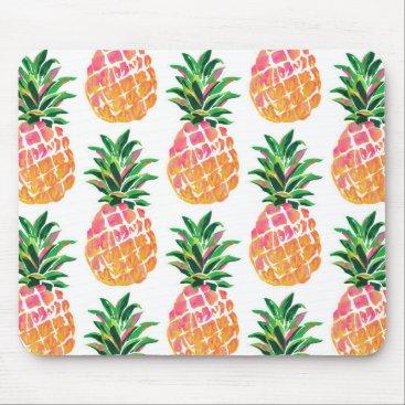 Beach Themed Cheerful Tropical Hawaiian Pineapple Mouse Pad