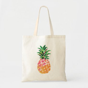 Beach Themed Cheerful Tropical Hawaiian Pineapple Tote Bag