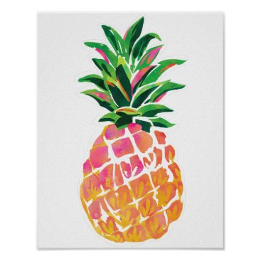 """Beach Themed Cheerful Tropical Pineapple Poster - 11""""x 14"""""""
