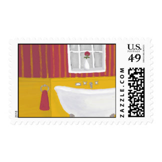 Cheerful Vintage Yellow and Rose Bathroom Postage