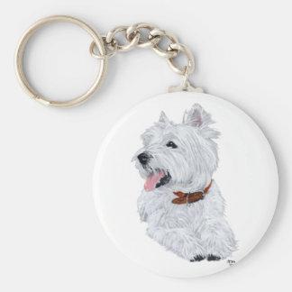 Cheerful West Highland White Terrier Basic Round Button Keychain