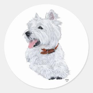 Cheerful West Highland White Terrier Classic Round Sticker